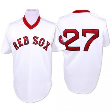 Authentic Carlton Fisk Men's Boston Red Sox White Throwback Jersey