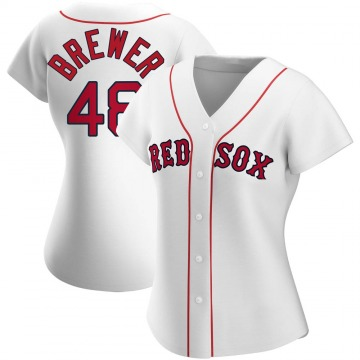 Authentic Colten Brewer Women's Boston Red Sox White Home Jersey